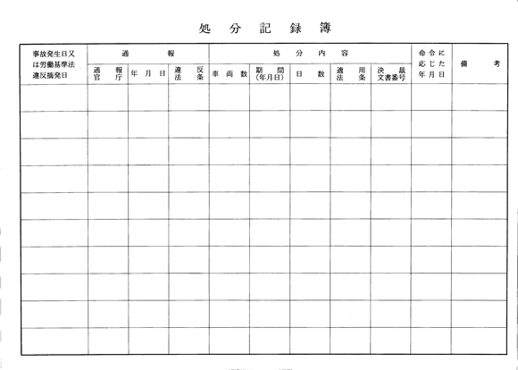処分記録簿(甲の裏)